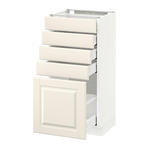МЕТОД / МАКСИМЕРА Напольный шкаф с 5 ящиками - 40x37 см, Будбин белый с оттенком, белый
