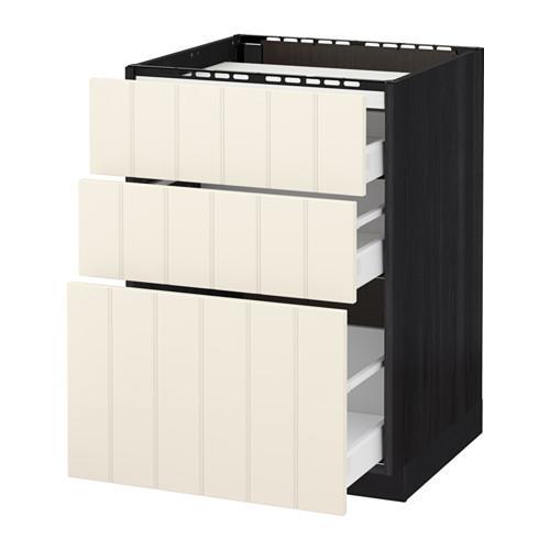 МЕТОД / МАКСИМЕРА Напольн шкаф/3фронт пнл/3ящика - 60x60 см, Хитарп белый с оттенком, под дерево черный