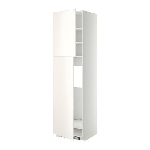 МЕТОД Высокий шкаф д/холодильника/2дверцы - 60x60x220 см, Веддинге белый, белый