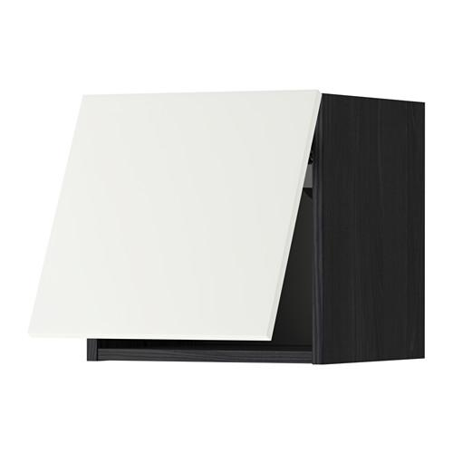 МЕТОД Горизонтальный навесной шкаф - 40x40 см, Хэггеби белый, под дерево черный