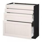 МЕТОД / МАКСИМЕРА Напольн шкаф 4 фронт панели/4 ящика - 80x37 см, Лаксарби белый, под дерево черный