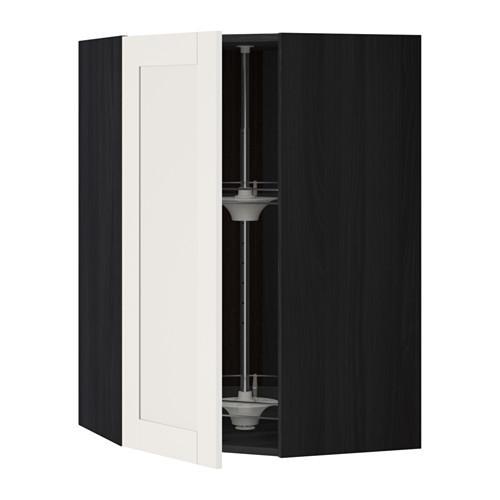 МЕТОД Угл нвсн шкф с вращающ секц - 68x100 см, Сэведаль белый, под дерево черный