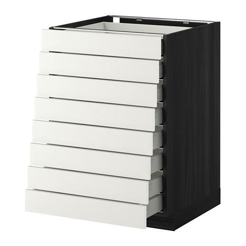 МЕТОД / МАКСИМЕРА Наполн шкаф 8 фронт/8 низк ящиков - 60x60 см, Хэггеби белый, под дерево черный