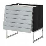 METHOD / FORVARA Base cabinet 6front PNL / 6 bottom drawers - 80x60x60 cm Wedding gray, black wood