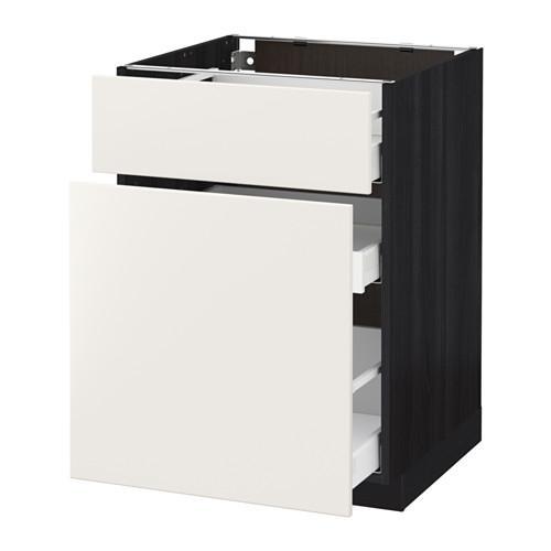 МЕТОД / МАКСИМЕРА Напольн шкаф/выдвижн секц/ящик - 60x60 см, Веддинге белый, под дерево черный