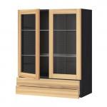 МЕТОД / МАКСИМЕРА Навесной шкаф/2 стек дв/2 ящика - под дерево черный, Торхэмн естественный ясень, 80x100 см