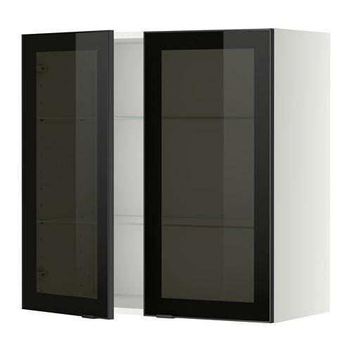 МЕТОД Навесной шкаф с полками/2 стекл дв - 80x80 см, Ютис дымчатое стекло/черный, белый