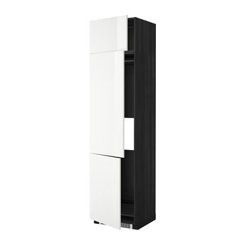 МЕТОД Выс шкаф для хол/мороз с 3 дверями - 60x60x240 см, Рингульт глянцевый белый, под дерево черный