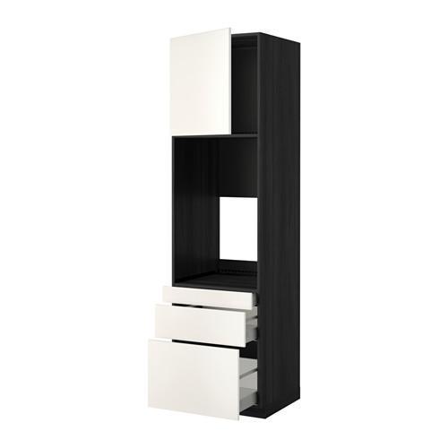 МЕТОД / МАКСИМЕРА Выс шкаф д/двойн духовки/3ящ/дверца - 60x60x220 см, Веддинге белый, под дерево черный