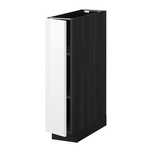 МЕТОД Напольный шкаф с полками - 20x60 см, Рингульт глянцевый белый, под дерево черный