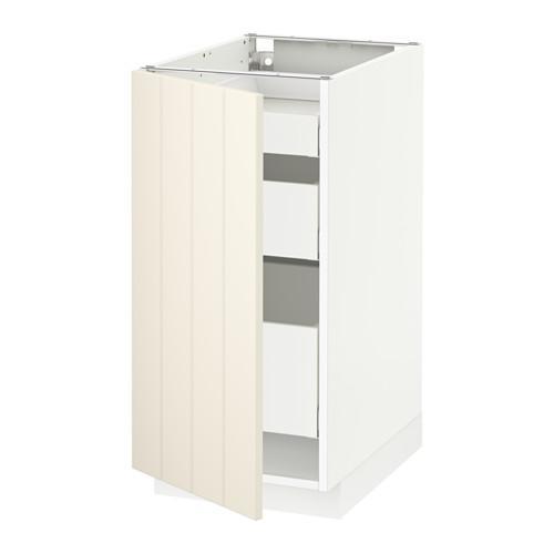 МЕТОД / МАКСИМЕРА Напольный шкаф с 1двр/3ящ - 40x60 см, Хитарп белый с оттенком, белый