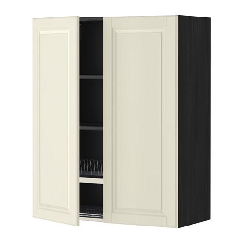МЕТОД Навесной шкаф с посуд суш/2 дврц - 80x100 см, Будбин белый с оттенком, под дерево черный