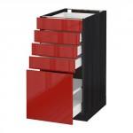 МЕТОД / МАКСИМЕРА Напольный шкаф с 5 ящиками - 40x60 см, Рингульт глянцевый красный, под дерево черный