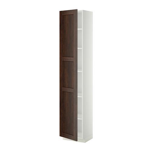 МЕТОД Высок шкаф с полками - 40x37x200 см, Эдсерум под дерево коричневый, белый