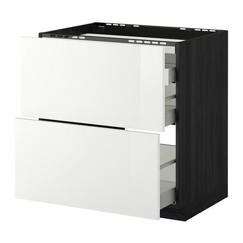 МЕТОД / МАКСИМЕРА Напольн шкаф/2 фронт пнл/3 ящика - 80x60 см, Рингульт глянцевый белый, под дерево черный