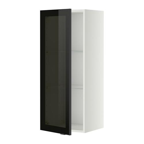 МЕТОД Навесной шкаф с полками/стекл дв - 40x100 см, Ютис дымчатое стекло/черный, белый