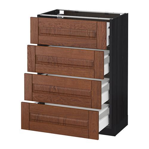 МЕТОД / МАКСИМЕРА Напольн шкаф 4 фронт панели/4 ящика - 60x37 см, Филипстад коричневый, под дерево черный