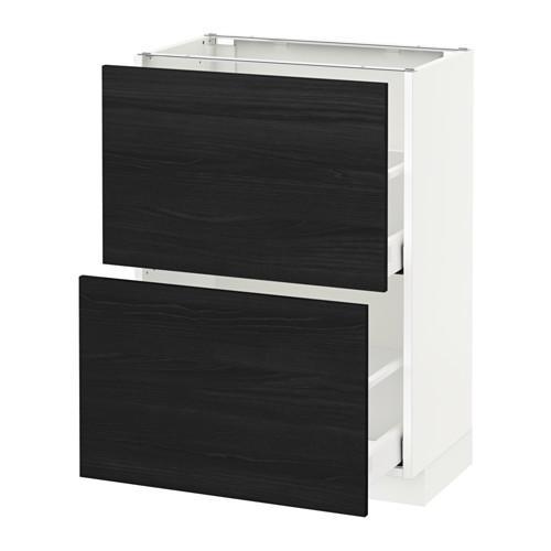 МЕТОД / МАКСИМЕРА Напольный шкаф с 2 ящиками - 60x37 см, Тингсрид под дерево черный, белый