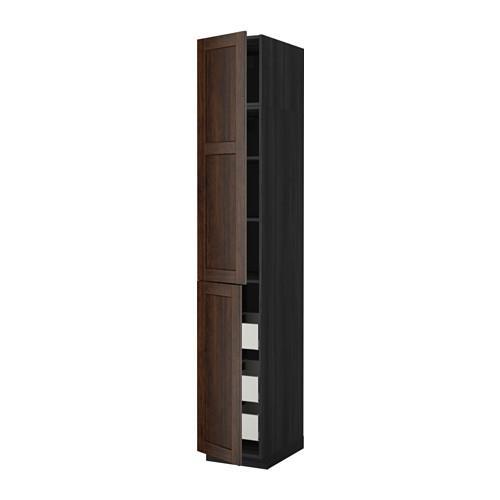 МЕТОД / МАКСИМЕРА Высокий шкаф+полки/3 ящика/2 дверцы - 40x60x240 см, Эдсерум под дерево коричневый, под дерево черный