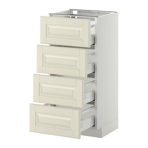 МЕТОД / МАКСИМЕРА Напольн шкаф 4 фронт панели/4 ящика - 40x37 см, Будбин белый с оттенком, белый