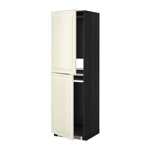 МЕТОД Высок шкаф д холодильн/мороз - 60x60x200 см, Будбин белый с оттенком, под дерево черный