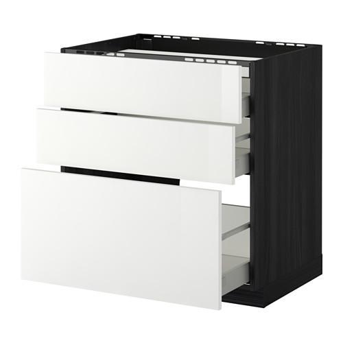 МЕТОД / МАКСИМЕРА Напольн шкаф/3фронт пнл/3ящика - 80x60 см, Рингульт глянцевый белый, под дерево черный