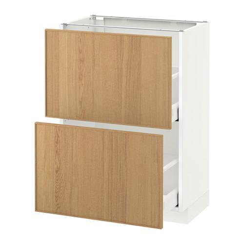 МЕТОД / МАКСИМЕРА Напольный шкаф с 2 ящиками - 60x37 см, Экестад дуб, белый