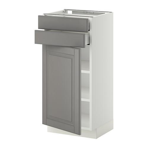 МЕТОД / МАКСИМЕРА Напольный шкаф с дверцей/2 ящиками - 40x37 см, Будбин серый, белый