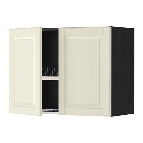 МЕТОД Навесной шкаф с посуд суш/2 дврц - 80x60 см, Будбин белый с оттенком, под дерево черный