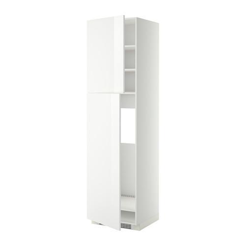МЕТОД Высокий шкаф д/холодильника/2дверцы - 60x60x220 см, Рингульт глянцевый белый, белый