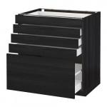 МЕТОД / МАКСИМЕРА Напольный шкаф с 5 ящиками - 80x60 см, Тингсрид под дерево черный, под дерево черный