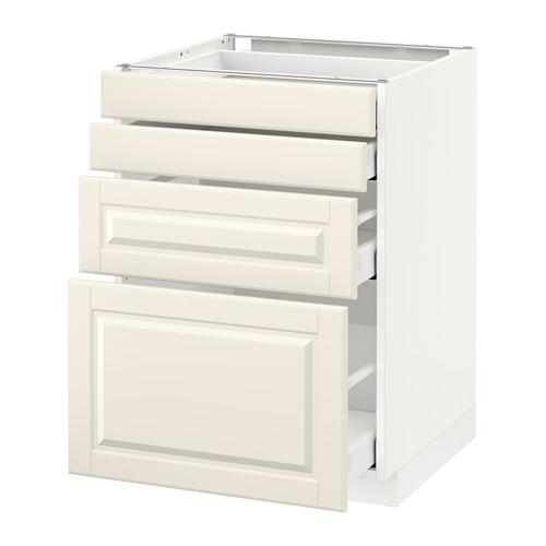 МЕТОД / МАКСИМЕРА Напольн шкаф 4 фронт панели/4 ящика - белый, Будбин белый с оттенком, 60x60 см