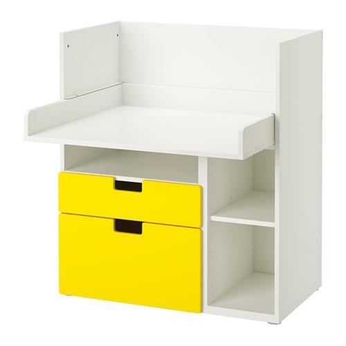 СТУВА Столик д/игр с 2 ящиками - белый/желтый