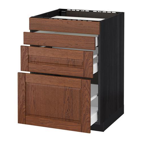 МЕТОД / МАКСИМЕРА Нап шкаф д/духовки/4фасада/3ящика - 60x60 см, Филипстад коричневый, под дерево черный