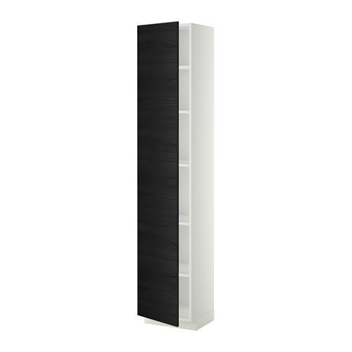 МЕТОД Высок шкаф с полками - белый, Тингсрид под дерево черный, 40x37x200 см
