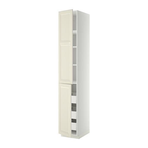 МЕТОД / МАКСИМЕРА Высокий шкаф+полки/3 ящика/2 дверцы - 40x60x240 см, Будбин белый с оттенком, белый