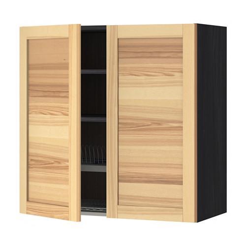 methode wandschrank mit geschirr sushi 2 dvrts holz schwarz torhemn esche natur 80x80 cm. Black Bedroom Furniture Sets. Home Design Ideas