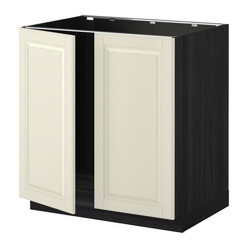 МЕТОД Напольн шкаф д раковины+2 двери - Будбин белый с оттенком, под дерево черный