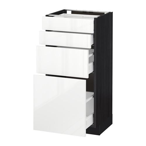 МЕТОД / МАКСИМЕРА Напольн шкаф 4 фронт панели/4 ящика - 40x37 см, Рингульт глянцевый белый, под дерево черный