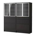 ЭФФЕКТИВ Комбинация для хранения с сткл двр - черно-коричневый, алюминий/стекло с рисунком