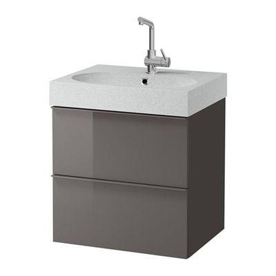 GODMORGON / Bråviken Schrank Waschbecken mit 2 Schubladen - Hochglanz grau / hellgrau