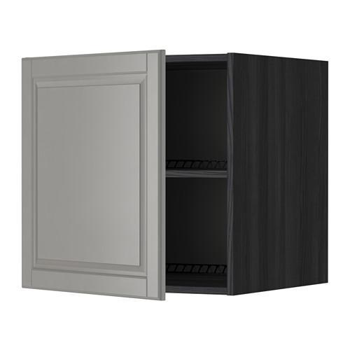 МЕТОД Верх шкаф на холодильн/морозильн - 60x60 см, Будбин серый, под дерево черный