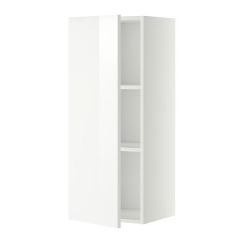МЕТОД Шкаф навесной с полкой - 40x100 см, Рингульт глянцевый белый, белый