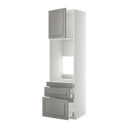 МЕТОД / МАКСИМЕРА Выс шкаф д/двойн духовки/3ящ/дверца - 60x60x220 см, Будбин серый, белый