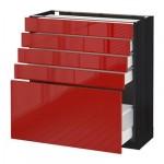 МЕТОД / МАКСИМЕРА Напольный шкаф с 5 ящиками - 80x37 см, Рингульт глянцевый красный, под дерево черный
