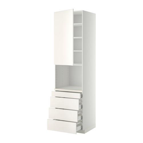МЕТОД / МАКСИМЕРА Высокий шкаф д/комбинир СВЧ/4 ящика - 60x60x220 см, Веддинге белый, белый