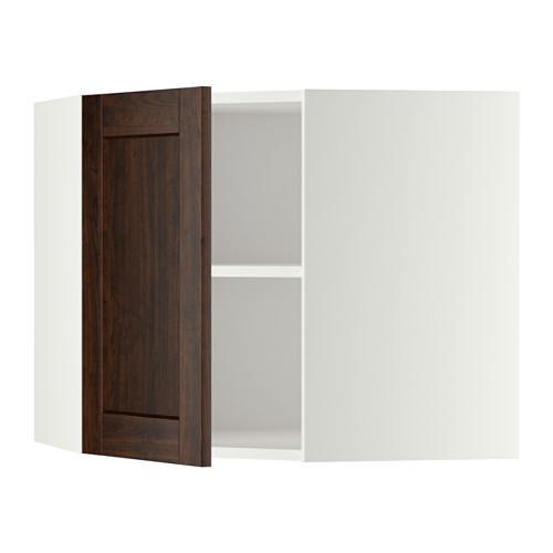 МЕТОД Угловой навесной шкаф с полками - 68x60 см, Эдсерум под дерево коричневый, белый