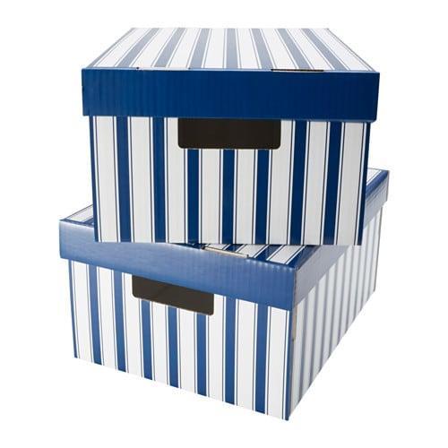 ПИНГЛА Коробка с крышкой - полоска белый/синий