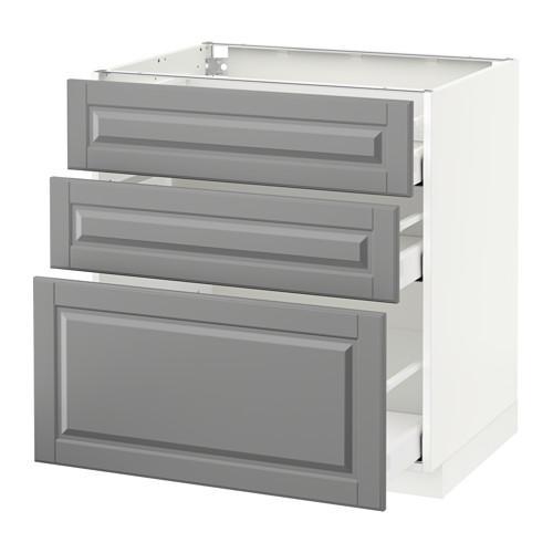 МЕТОД / МАКСИМЕРА Напольный шкаф с 3 ящиками - 80x60 см, Будбин серый, белый