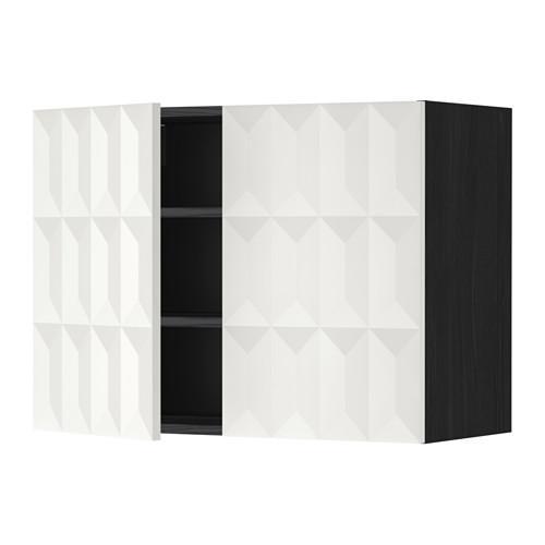 МЕТОД Навесной шкаф с полками/2дверцы - 80x60 см, Гэррестад белый, под дерево черный